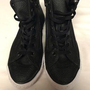 Size 4 Black Leather Converse!